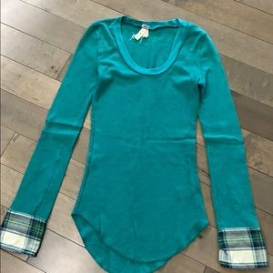 Free People Lou Flannel Cuff thermal, teal